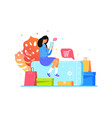 girl buys online with smartphone web shopping vector image vector image