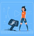 girl hold thumb down modern video blogger vlog vector image vector image