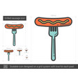 grilled sausage on fork line icon vector image