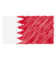 hand drawn national flag of bahrain isolated on a vector image vector image