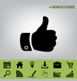 hand sign black icon at gray vector image vector image