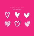 heart element set hand drawn valentines vector image