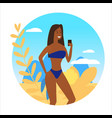 icon activty on ocean sea summer girl taking vector image