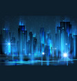 illuminated night city skyline vector image vector image