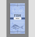 interesting idea for fish menu with decoration vector image