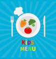 kids menu card fork plate knife and chefs hat vector image