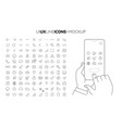 line ui ux icon set with line hands holding vector image vector image