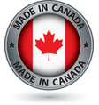 Made in Canada silver label with flag vector image vector image