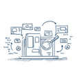 magnify glass search information on laptop vector image vector image