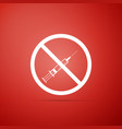 no vaccine icon on red background no syringe sign vector image