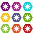 origami sun icons set 9 vector image vector image