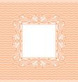 ornamental frame on light pink wave background vector image