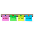 pinned paper notes labels on cork board blue pink vector image