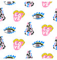 pop art fun seamless funky pattern with lettering vector image vector image