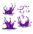 purple water splashes waves and drops vector image