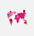realistic paper sticker map world vector image vector image