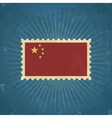 Retro China Flag Postage Stamp vector image vector image