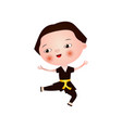 satisfied little asian boy does karate isolated on vector image vector image