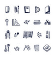 school supplies set doodle black outline icons vector image