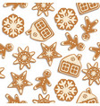 seamless christmas background with gingerbread vector image vector image