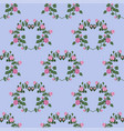 seamless pattern of hearts of pink roses on a blue vector image vector image