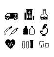 set icons for medicine industry vector image vector image