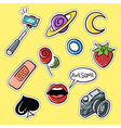 set of fashionable patches selfie stick lips vector image
