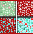 set of four heart patterns in bubbles vector image