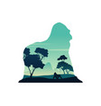 silhouette of gorilla on the hill scenery vector image