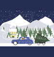 snowman drives in a retro car on a winter road vector image vector image