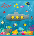 submarine cartoon background vector image vector image