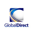 technology global direct square sphere logo vector image vector image