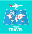 travel and tourism airplane flying above the map vector image vector image