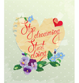 Vintage Card Heart is made of old paper with daisy vector image vector image