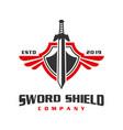 war sword shield logo design vector image vector image