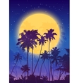 Yellow moon with dark blue palm silhouettes poster vector image vector image