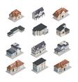Isometric Suburban House Set vector image