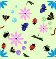 pattern of insects in colors child worms vector image