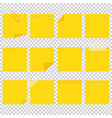 a set of yellow office sticky sheets a simple vector image vector image