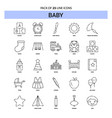 baby line icon set - 25 dashed outline style vector image