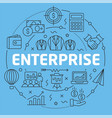 blue line flat circle enterprise vector image