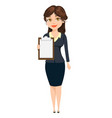 businesswoman standing with clipboard cute vector image vector image