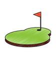 cartoon golf flag with hole grass field vector image vector image