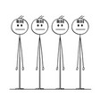 cartoon of group of identical men with bar code vector image