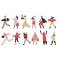 christmas people happy or new year vector image