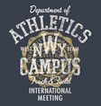 college athletic department track field meeting vector image