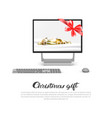 computer monitor with robbon bow and holiday vector image vector image