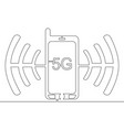 continuous line drawing 5g concept icon vector image