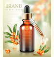 cosmetic ads template essence bottle with sea vector image vector image