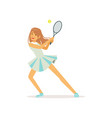 cute girl with tennis racket and ball vector image vector image